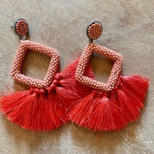 Cute festive earrings - coral